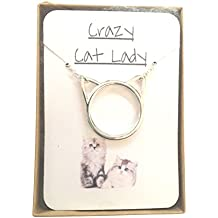 'Crazy Cat Lady' Simple Silver Plated Necklace in Charming Hand Stamped 'Meow' gift box