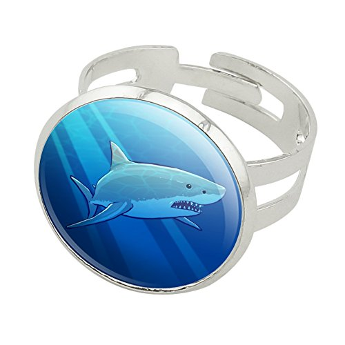 Great White Shark Realistic Silver Plated Adjustable Novelty Ring