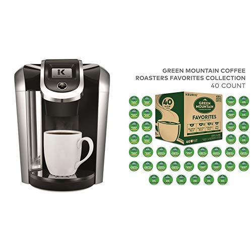 Keurig K475 Single Serve K-Cup Pod Coffee Maker with 12oz Brew Size and temperature control with Coffee Roasters Favorites Collection, Single Serve Coffee K-Cup Pod, Variety, 40