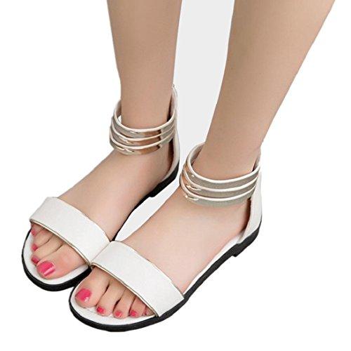 Fheaven Womens Sandali Scarpe Estive Scarpe A Punta Aperta Sandali Romani Cinturini Sandali Bianchi