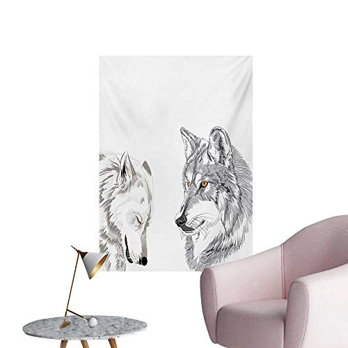 Anzhutwelve Sketchy Photographic Wallpaper Two Wolf Portraits Sleeping Hunting Carnivore Animals Nature Wildlife ThemeBeige Grey Orange W32 xL48 Funny Poster]()