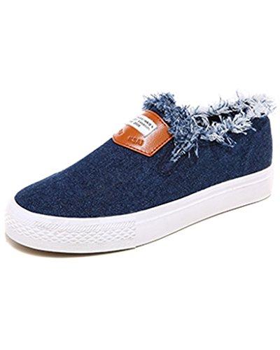 Minetom Damen Mädchen Mode Demin Segeltuchschuhe Flache Ferse Espadrilles Freizeit Loafer Schuhe Dunkelblau