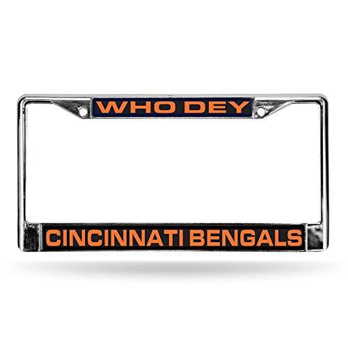 Rico Industries NFL Cincinnati Bengals Laser Cut Inlaid Standard License Plate Frame, 6