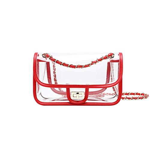 Bags Chain Womens NFL Lam Clear Approved Turn Gallery Purse Red Bags Lock Handbags Shoulder q0RzWSRBv
