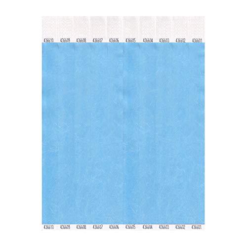 Plain Tyvek Wristbands Sky Blue 100 Pack