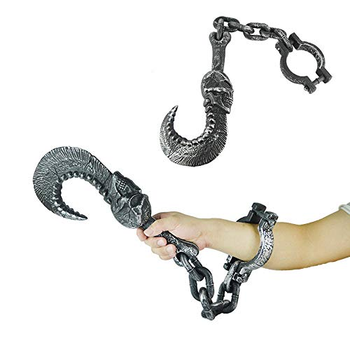 Halloween Chain Props Prisoner Chain Plastic Hook Hammer Bracelet Anklets Toys for Halloween Party, Coffee, Home Table Decoration (C)