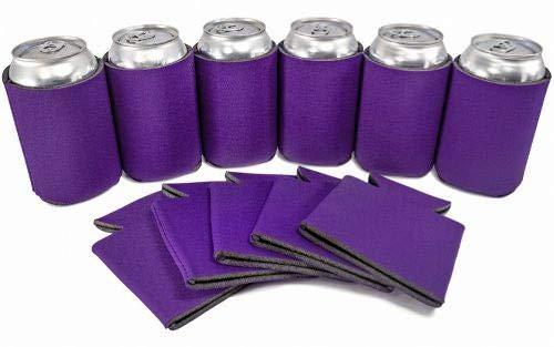 PartyPrints 25 Can Sleeves - Bulk Blank Koozies - Purple Beer Sleeves for Cans and Bottles - Blank Drink Coolers - DIY Party -