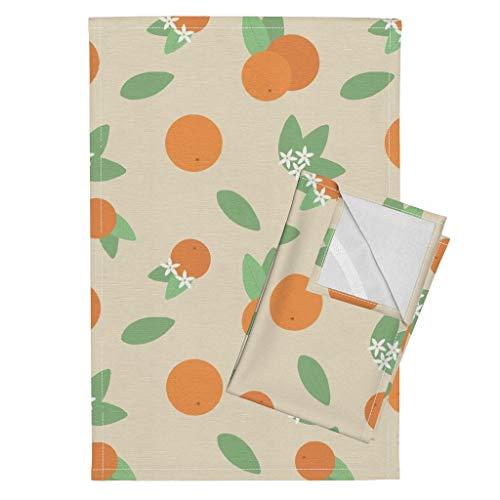 Roostery Florida Tea Towels Florida Vintage Kitsch Fruit Tropic Rifle Paper Citrus by Jackelope Set of 2 Linen Cotton Tea Towels