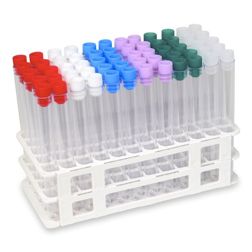 60 Tube - 16x150mm Clear Plastic Test Tube Set with Caps and Rack - Karter Scientific 207I4 by Karter Scientific