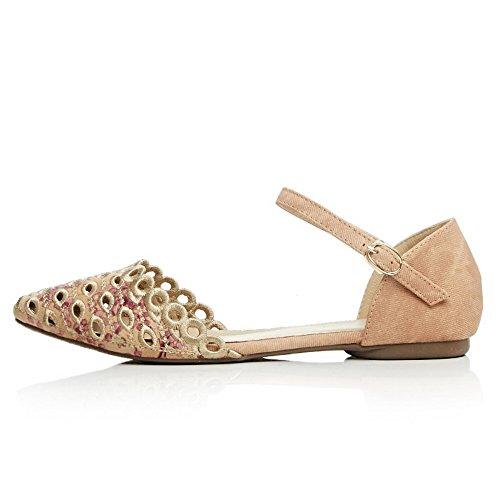 Balamasa Dames Bloemen Holle Luipaard Patroon Geborduurde Blend Materialen Pumps-schoenen Abrikoos