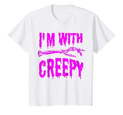 Kids I'm with Creepy T-Shirt - Funny Stupid Halloween Tee 10 White