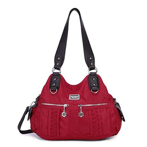 Angel Barcelo Fashion Women's Multi-pocket nylon Handbags Shoulder Bags Totes Purses … (0038-Red)