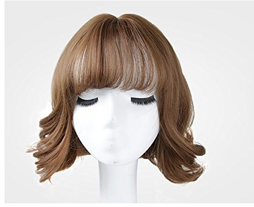 Price comparison product image MA&MA Wig woman short hair curls air bangs bobo head(Brown)-brown