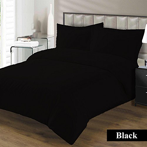 Hotel Collection Premium Duvet Cover with Zipper Closure 100% Egyptian Cotton Luxurious and Hypoallergenic 600 Thread Count Ultra Soft By Kotton Culture ( Twin/Twin-XL, Black (Full Sized Label Set)