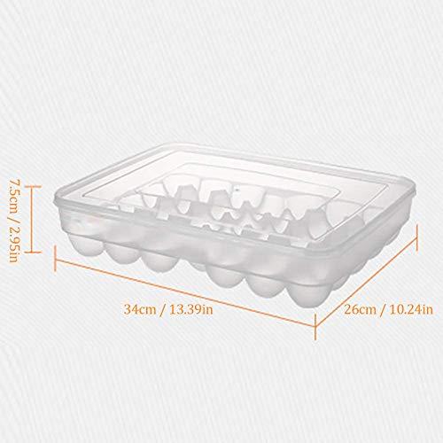 20/24/34 Compartimentos Frigorífico Huevera Bandeja Caja de Huevos Frigorífico Caja de Almacenamiento para Mantenimiento Fresco Rack de Huevos (Blanco, 34 Compartimento)