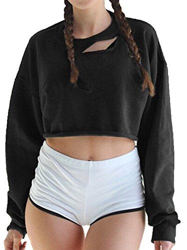 Joeoy Women's Black Ripped Cut Out Long Sleeve Crop Top Sweatshirt T-Shirt-M