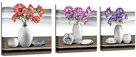 LIWEIXKY Cuadro En Lienzo Enmarcado 3 Partes, Patrón Enmarcado, Florero Gris Plateado, Montañas Distantes Negras, Flores Moradas, Decoraciones De La Pared Lienzos Enmarcados, 60x60cmx3pcs