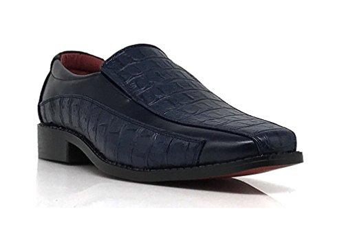 Mens Alligator Shoes (Tor04 Men's Alligator Crocodile Print Oxfords Loafers Fashion Slip On Dress Shoes (8, Navy))