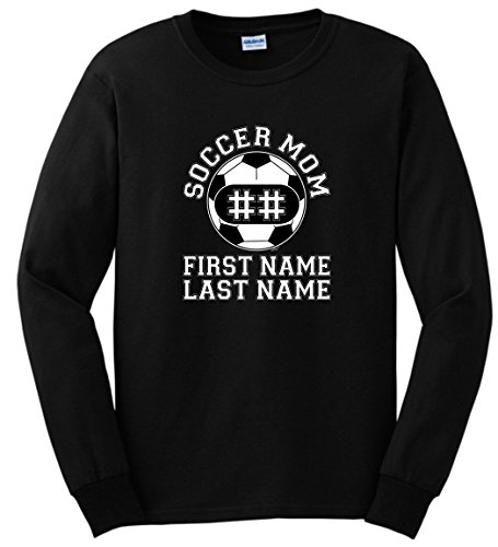 Personalized T-Shirt Personalized Soccer Mom Enter Players Name Number Long Sleeve T-Shirt Medium Black