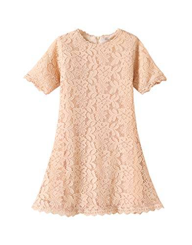 YUEXIN Big Girls Lace Flower Princess Dress Kids Crew Neck A-Line Party Gowns -