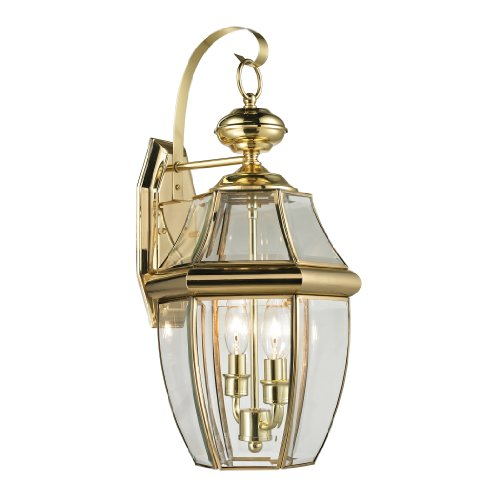 - Cornerstone Lighting 8602EW/85 Ashford 2 Light Exterior Coach Lantern, Antique Brass