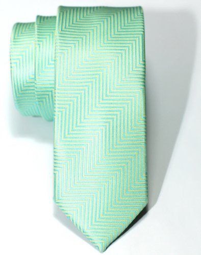 Necktie Thin Retro Skinny Tie (Retreez Herringbone Stripe Woven Skinny Tie - Mint Green)