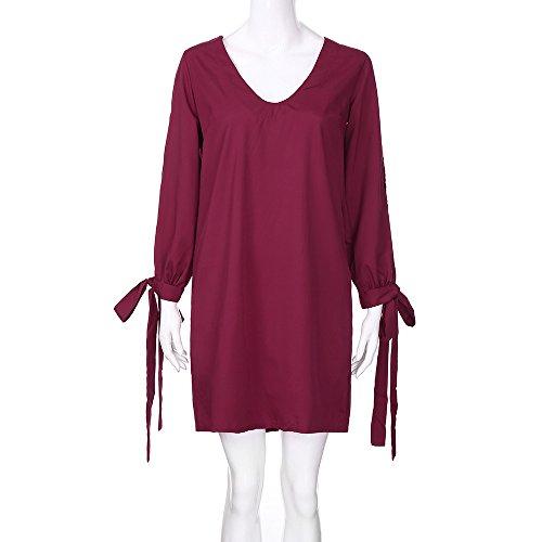 Femmes Chanyuhui Robes Jeu Dame Solide Bandage V-cou Moulante Creuse Longue Soirée Manches Mini Robe Rouge Vin
