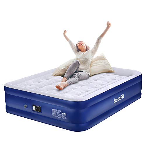 SpoxFit Deluxe Queen Air Mattress with Built-in Pump & Pillow, Foldable Easy to Blow Up, Portable Airbed for Guest, Double High Inflated Size 80x60x18 Inches