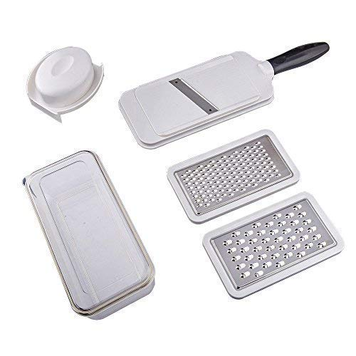 (Hanns 6 in 1 Plastic and Stainless Steel Kitchen Grater Set for Vegetable, Julienne Slicer with Storage Box (with Container) & Safe Top Cover(Hand Guard), A321K, Black-White)
