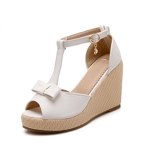 Allhqfashion Womens Buckle High-heels Pu Solid Peep Toe Sandalen Wit