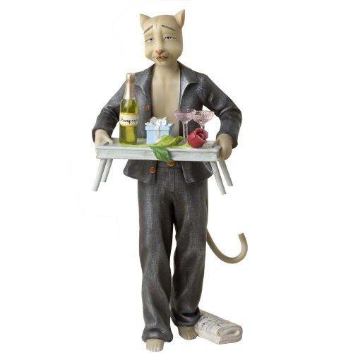Kurt Adler Alley Cats Resin Dante Breakfast in Bed Table Piece, 8-Inch