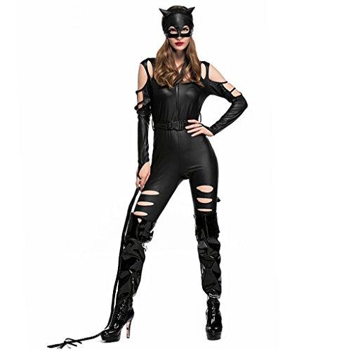 HUGGUH Nightclub Leather Catgirl Cosplay Pole Dance Halloween Costume -