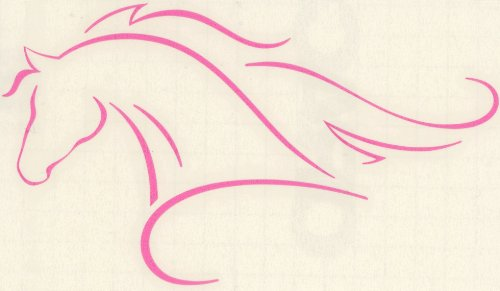Pretty-Ponies Line Art Arabian or Morgan Horse with Flowing Mane Decal- Small Pink Left Facing ()