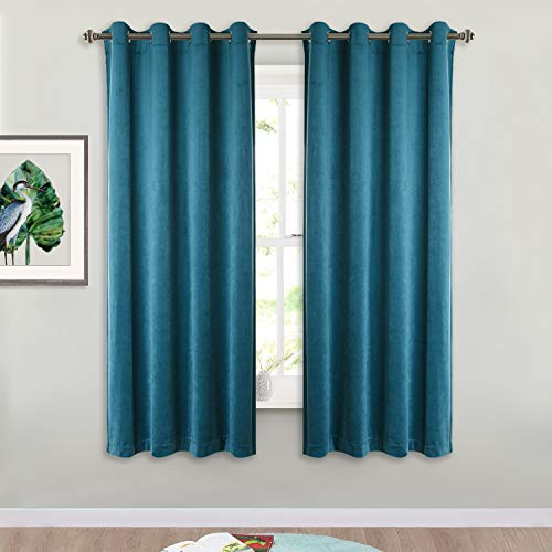Dark Teal Velvet Drapes 63-inch - Luxurious Home Decor Window Covering Soundproof Velvet Blackout Curtain Panels for Guest Room/Bedroom, W52 x L63, Peacock Blue, Set of 2 ()