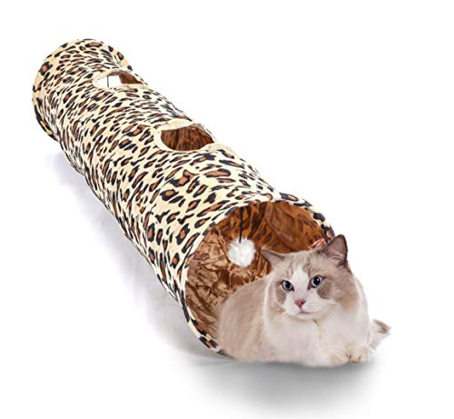 WonderKathy Cat Play Tunnel Leopard Print Cat Tunnel Tube with 2 Holes Crinkly Round Long Tunnel Portable Hideaway Fun Happy Pet Cat Toys (Leopard) ()
