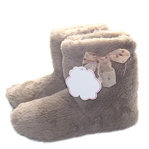 Souple Chaud Marron Donad Coton Chaussures Peluche En Antidérapants Accueil Filles Femmes D'hiver Bas Bottes D'intérieur Pantoufles Z0Raz