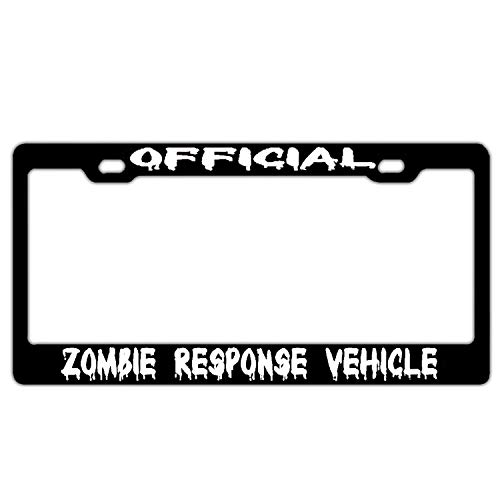 New Cool card License Plate Frame Frame Aluminum License Plate 12×6 inches Official Zombie Response Vehicle Black