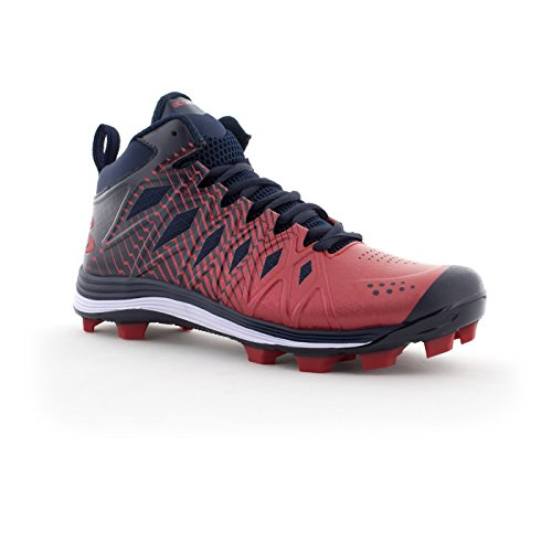 Boombah Mens Squadron Molded Mid Cleats - 15 Color Options - Multiple Sizes Navy/Red 8rZ9Y