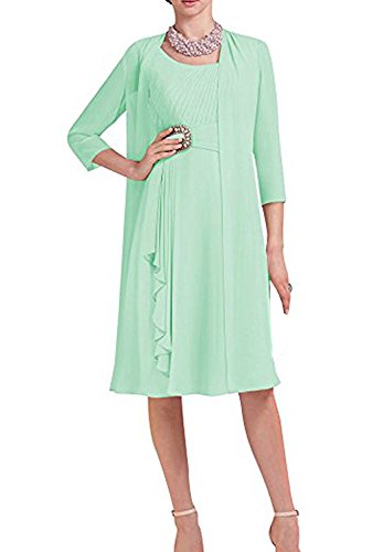 Pretygirl Women's Formal Two Piece Dress Chiffon Mother Of The Bride Dresses Knee Length Evening Gown(US 10, Mint)
