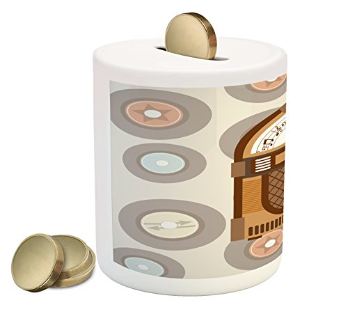 Ambesonne Jukebox Piggy Bank, Pick Up Music with Vintage Abstract Long Players Backdrop, Printed Ceramic Coin Bank Money Box for Cash Saving, Brown Pale Coffee Grey and Peach