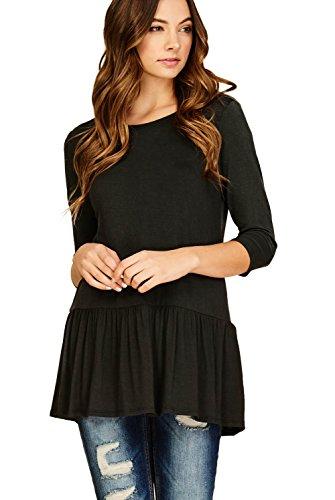 Annabelle Women's Casual Three Quarter Sleeves Ruffle Hem T Shirt Tops Black Small T1180