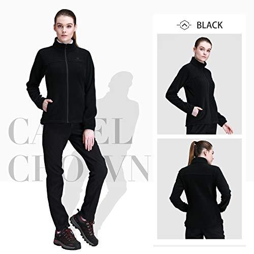 CAMEL CROWN Women Full Zip Fleece Jackets with Pockets Soft Polar Fleece Coat Jacket Sweater for Spring Outdoor
