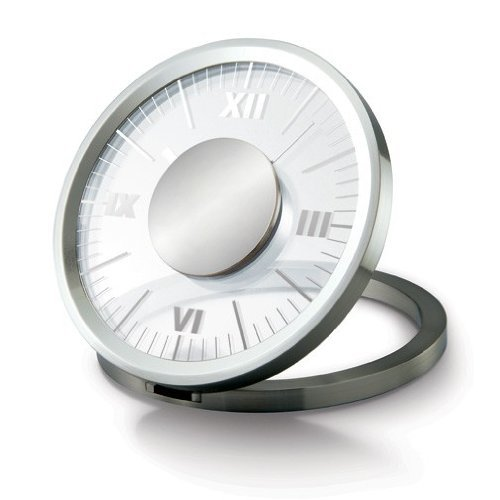 Closeoutservices Desk Clock - Transparent Analog Face - Folding Round Aluminum Frame.