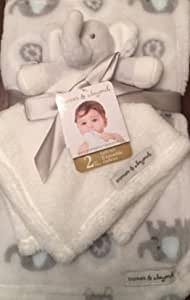 Blankets & Beyond White/Grey Elephant Security Nunu & Blanket Set