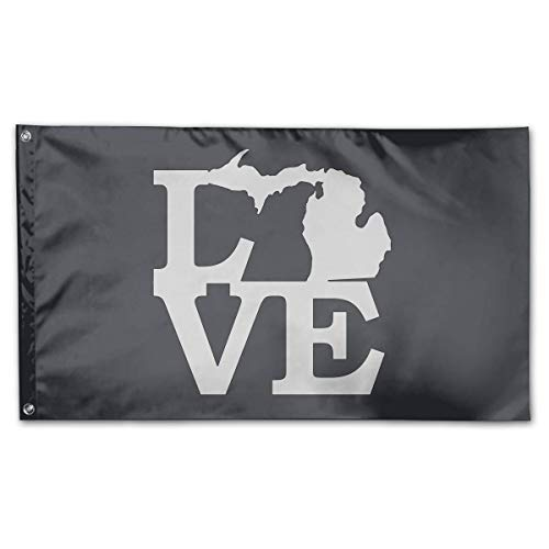 Michigan Outdoor Pendant - WINDST Personalized Michigan Love Map Outline Logo Garden Flag 3x5 ft Outdoor Garden Decorative Banner Black