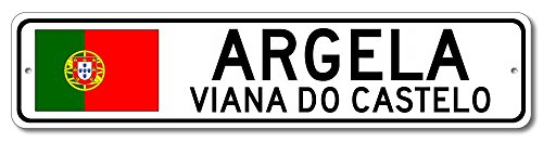 "The Lizton Sign Shop Argela, Viana Do Castelo Aluminum Portuguese Flag Sign, Portugal Custom Flag Sign - 9""x36"""