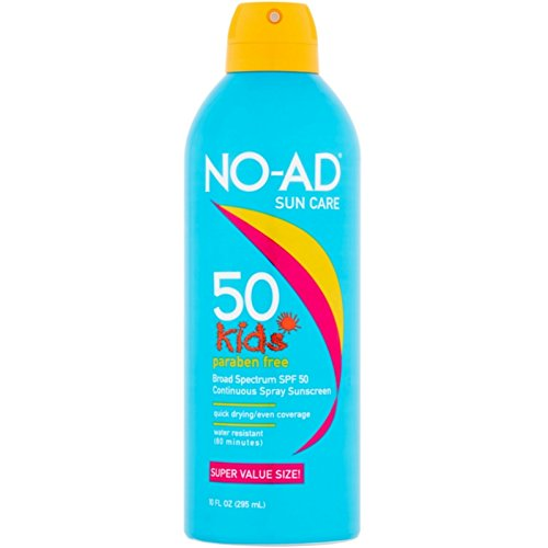 NO-AD Kids Continuous Sunscreen Spray SPF 50 10 oz (Pack of 2)