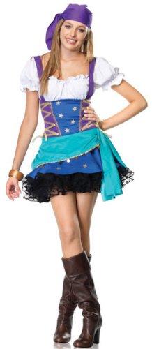 Leg Avenue Junior's 2 Piece Gypsy Princess Costume, Purple/Blue, Small/Medium (Gypsy Princess Fancy Dress)