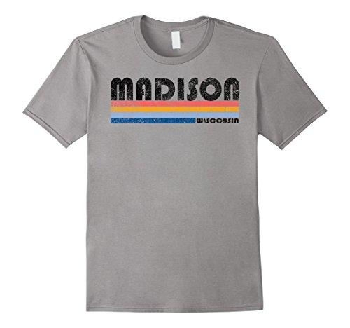 Mens Vintage 1980s Style Madison Wisconsin T Shirt Medium - Men's Wi Clothing Madison