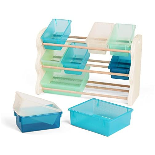 B. spaces by Battat – Totes Tidy Toy Organizer – Kids Furniture Set Storage Unit with 10 Stackable Bins – Ivory, Sea and…